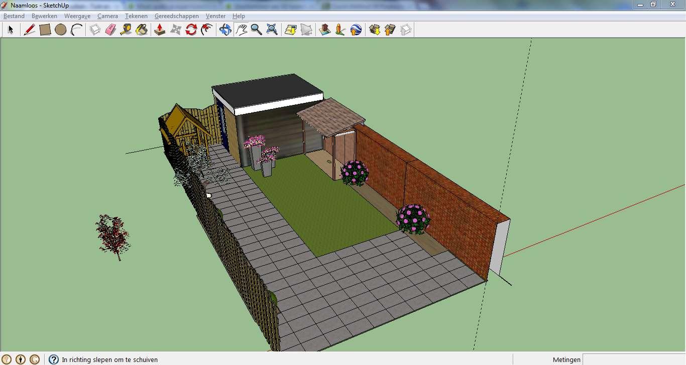 Maak gratis je eigen tuinontwerp met sketchup tuin en balkon for Tuin tekenen app