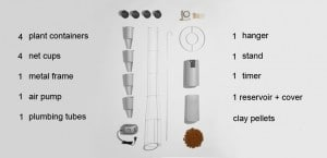 kickstarter windowfarm - raamtuin onderdelen