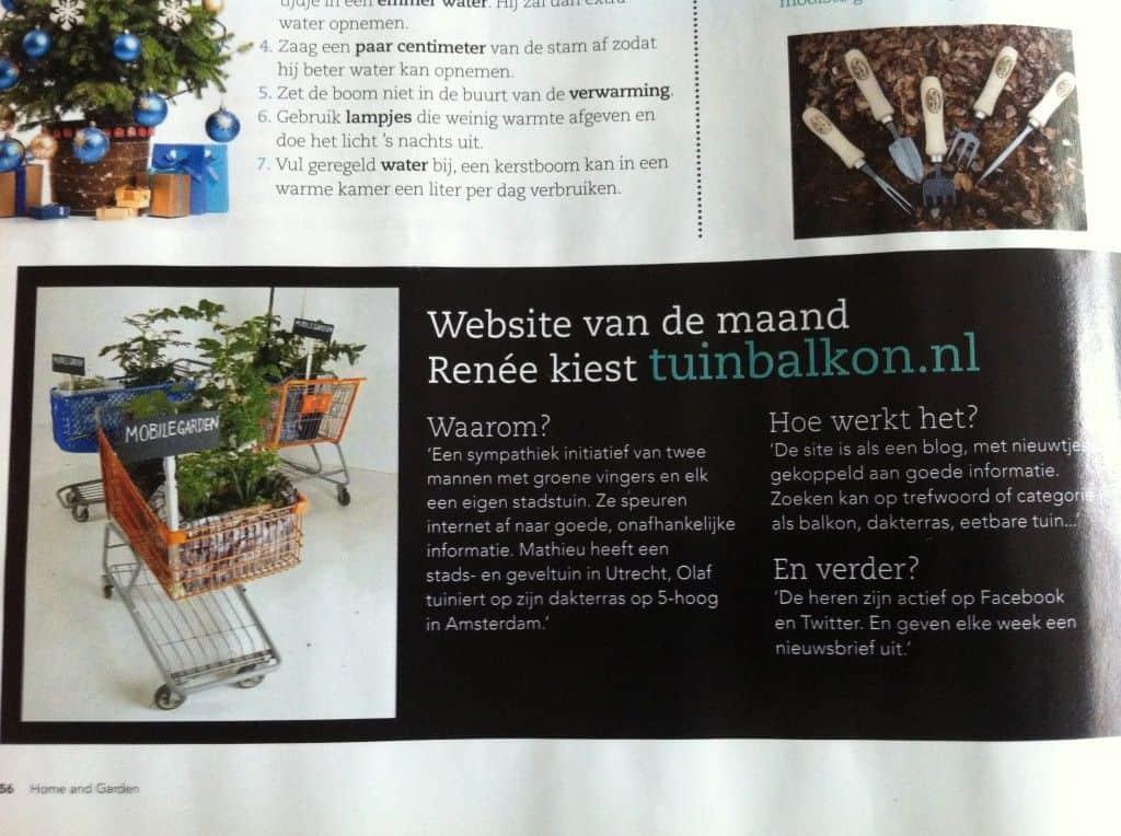 home and garden magazine - tuin en balkon website van de maand - cover