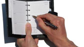 schrijven in agenda