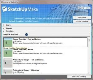 sketchup startscherm