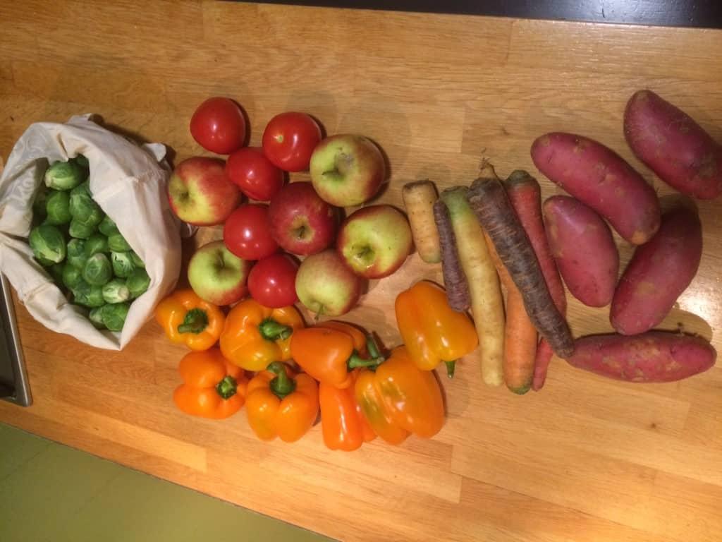 Mijn score van vandaag, 5kg heerlijke groente en fruit!