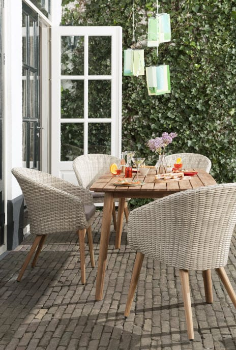 Houten Tuinbank Blokker.Nieuwe Betaalbare Lijn Tuinmeubels Van Blokker En Leen Bakker Tuin